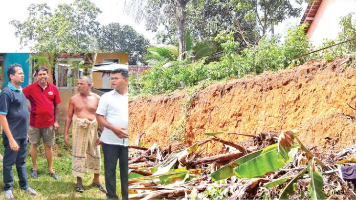 Divisional Secretary Chathura Malraj inspecting the danger-prone location. Picture by Kalutara District Roving Corr.