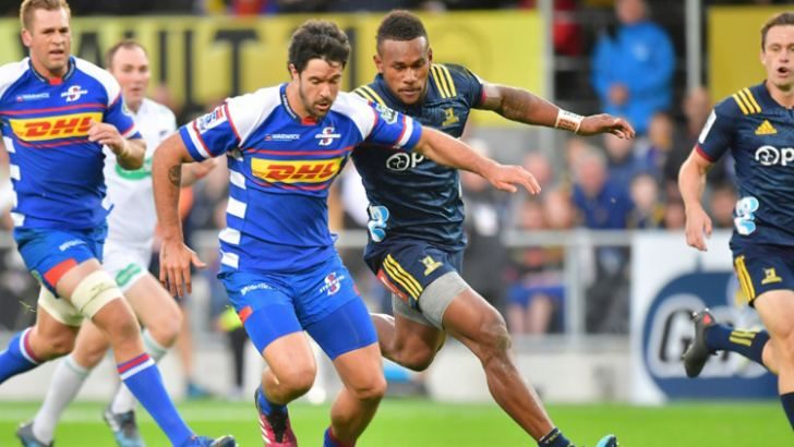 Otago Highlanders' wing Tevita Nabura (R) is suspended from Super Rugby until July 6 following his mid-air. AFP