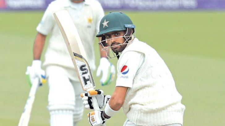 Pakistan's Babar Azam plays a shot on the second day of the first international Test match between England and Pakistan at Lord's cricket ground in London on May 25,. AFP