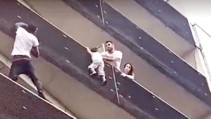 22-year-old rescuer a Mamoudou Gassama scaled four storeys of a Parisian apartment building to rescue a child that was on the outside of the balcony railing.