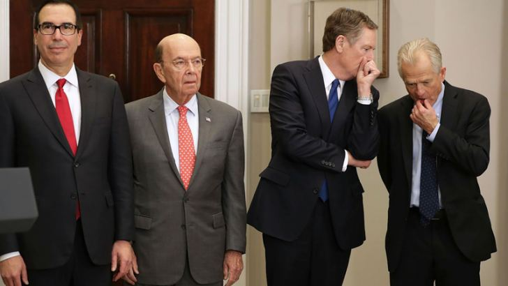 The men waging Trump's trade wars (from left): Treasury Secretary Steven Mnuchin, Commerce Secretary Wilbur Ross, U.S. Trade Representative Robert Lighthizer, and White House National Trade Council Director Peter Navarro, in the White House recently.