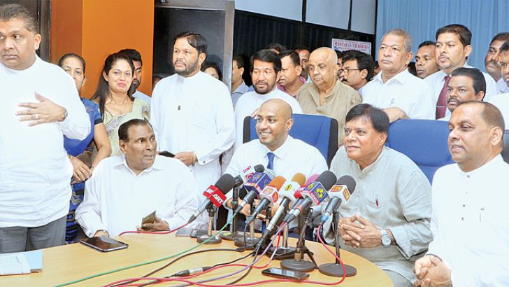 SLFP General Secretary Prof. Rohana Lakshman Piyadasa and National Organiser Minister Duminda Dissanayake at the press conference yesterday. Picture by Saman Sri Wedage