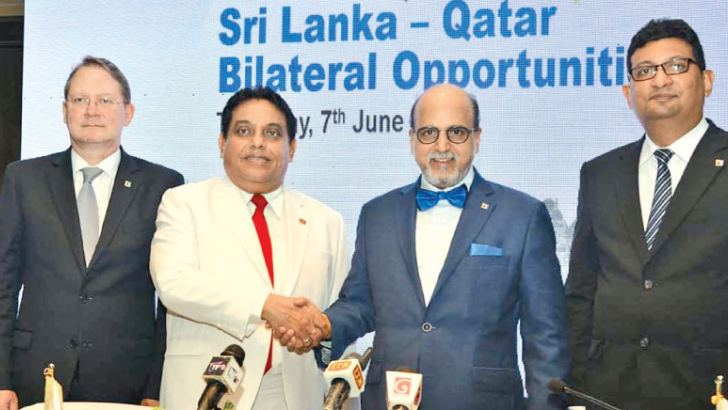 Doha Bank Group CEO R Seetharaman, Eranda Weerakoon, Ambassador A. S. P. Liyanage and Frank  Hammer from Doha Bank in Colombo yesterday. Picture by Sudaht Malaweera
