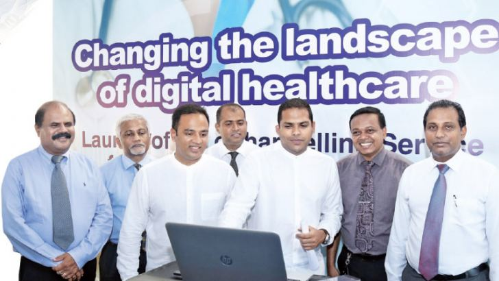 Official launch of eChannelling for Government Hospitals at eHospital-Dompe by Minister of Telecommunication, Digital Infrastructure and Foreign Employment Harin Fernando. Also present were (from left)