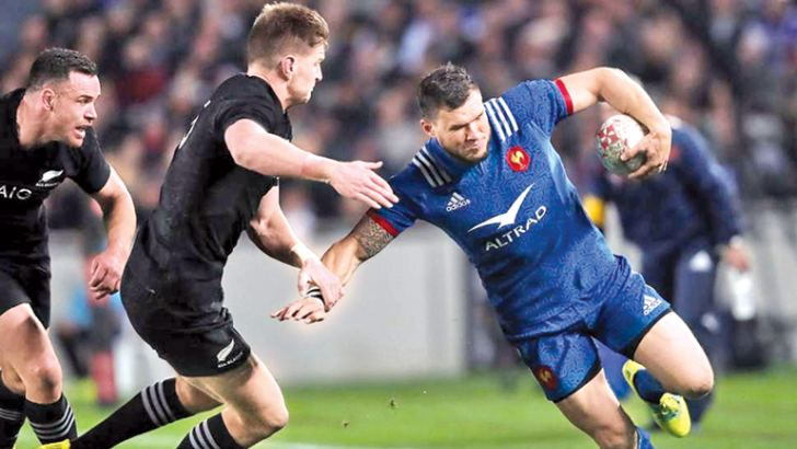 Remy Grosso (right) suffered a double facial fracture in a high tackle from Sam Cane and Ofa Tu'ungafasi