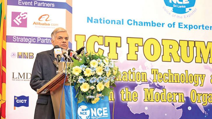 Prime Minister Ranil Wickremesinghe addressing the NCE ICT Forum 2018 held in Colombo recently.