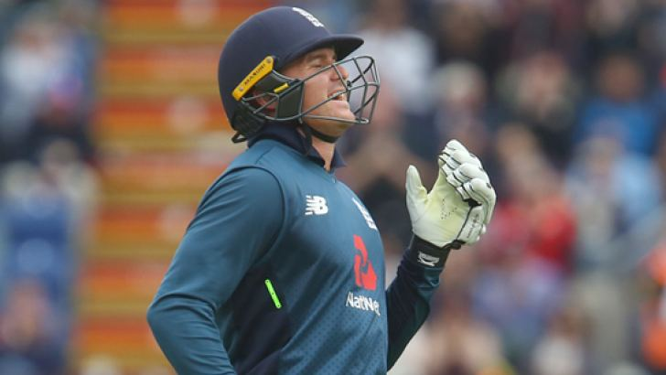 England's Jason Roy celebrates reaching his century during play in the 2nd One Day International (ODI) cricket match against Australia at Sophia Gardens cricket ground in Cardiff on Saturday. – AFP