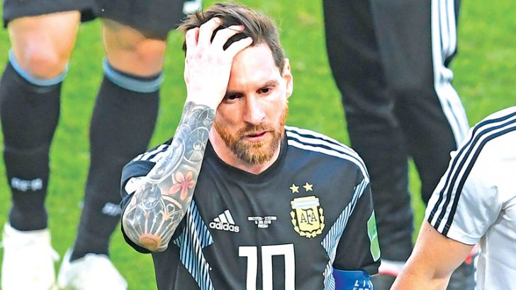 Argentina's forward Lionel Messi reacts at the end of the Russia 2018 World Cup Group D football match against Iceland at the Spartak Stadium in Moscow on Saturday. - AFP