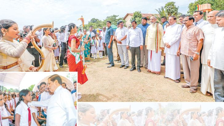 President Maithripala Sirisena was given a rousing welcome by children when he arrived at the Killinochchi Madya Maha Vidyalaya grounds to inaugurate the Killinochchi district conference of the Child Protection National Programme yesterday morning. Northern Province Governor Reginald Cooray, Chief Minister C.V. Vigneswaran, Minister Chandrani Bandara, Deputy Ministers Angajan Ramanathan, Cader Masthan and several other political representatives and state officials were also present. Pictures by Nissanka de