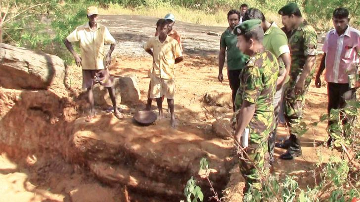 STF officers at the excavation site.  Picture by K. D. Devapriya, Kataragama Roving Corr.