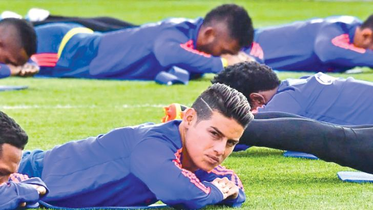 Colombian star midfielder James Rodriguez is struggling with a calf strain ahead of the World Cup clash against Japan