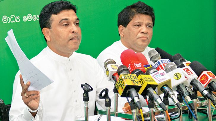 Law and Order Deputy Minister Nalin Bandara and Environment Deputy Minister Ajith Mannapperuma at yesterday's press conference. Picture by Shan Rambukwella