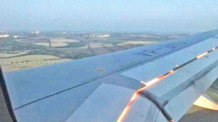 The engine of the plane carrying the Saudi Arabians on fire.