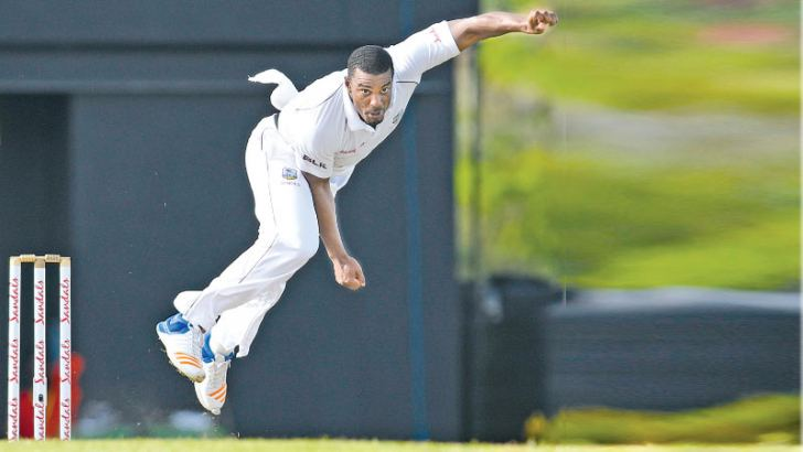 Man of the Match Shannon Gabriel in full flight against Sri Lanka in the second Test at St Lucia's.