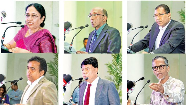 IESL President Eng. Prof. N. Ratnayake, IESL President Elect and Techno Sri Lanka 2018 Chairman Eng. Prof. T. M. Pallewatte  and representatives of  sponsors  and officials addressing the launch