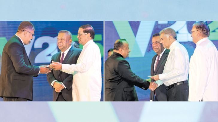 The launch of Enterprise Sri Lanka, one of the main proposals enshrined in the 2018 Budget Proposals to create entrepreneurs, was launched at the BMICH yesterday under the patronage of President Maithripala Sirisena and Prime Minister Ranil Wickremesinghe. Here, beneficiaries receiving financial assistance from President Maithripala Sirisena and Prime Minister Ranil Wickremesinghe. Pictures by Rukmal Gamage