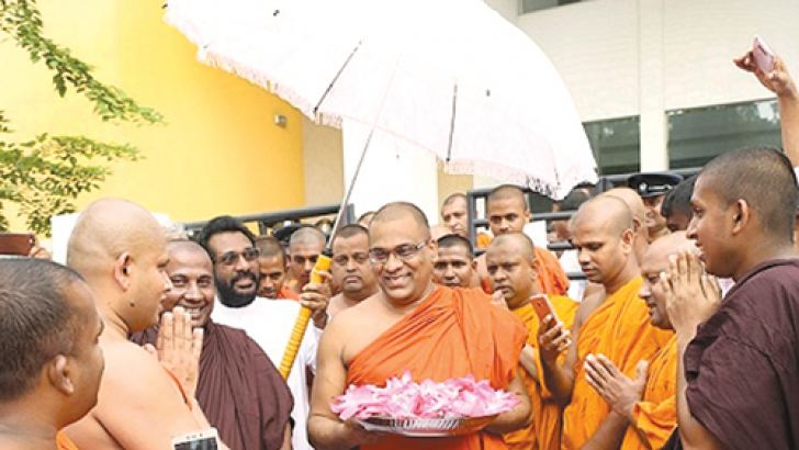 Bodu Bala Sena General Secretary Ven. Galagoda Aththe Gnanasara Thera who was granted bail by the Homagama Magistrate and Additional District Judge participated in religious observances later.