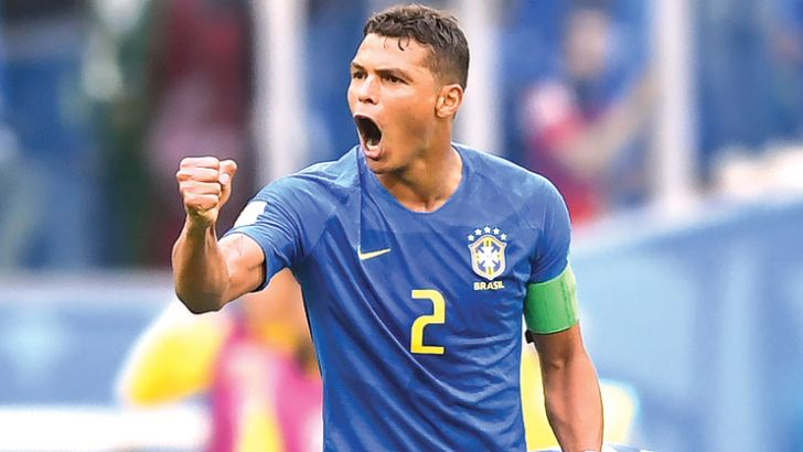 Brazil's defender Thiago Silva celebrates his team's first goal during the Russia 2018 World Cup Group E football match against Costa Rica in Saint Petersburg on June 22.