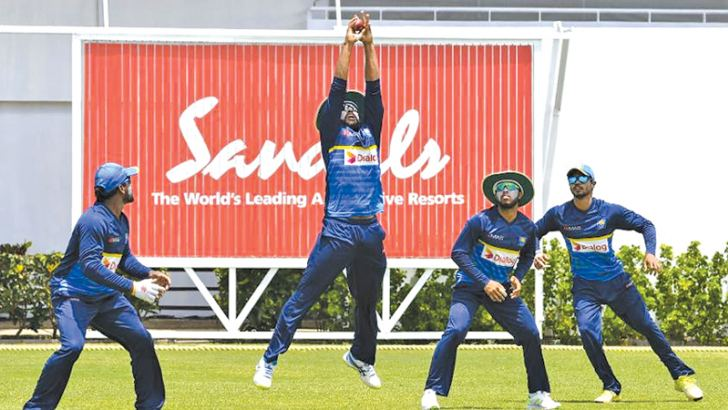 The Sri Lankan team practicing ahead of the third and final cricket Test against West Indies.