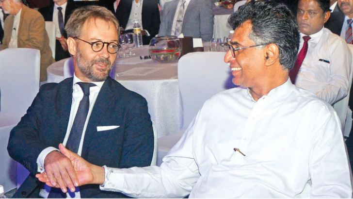 Patali Champika Ranawaka Minister of Megapolis and Western Development with Jean-Marin Schuh, Ambassador of France at the launch
