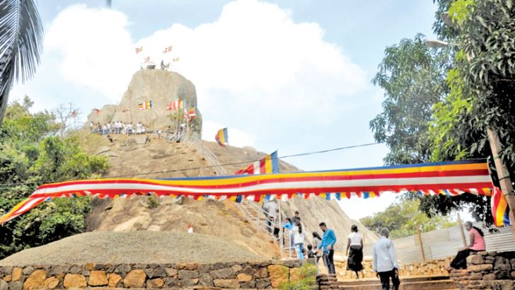 Preparations underway at the Mihintale Raja Maha Viharaya for the Lake House Poson ALoka Pooja pinkama.. Picture by Anuradhapura Additional Corr.
