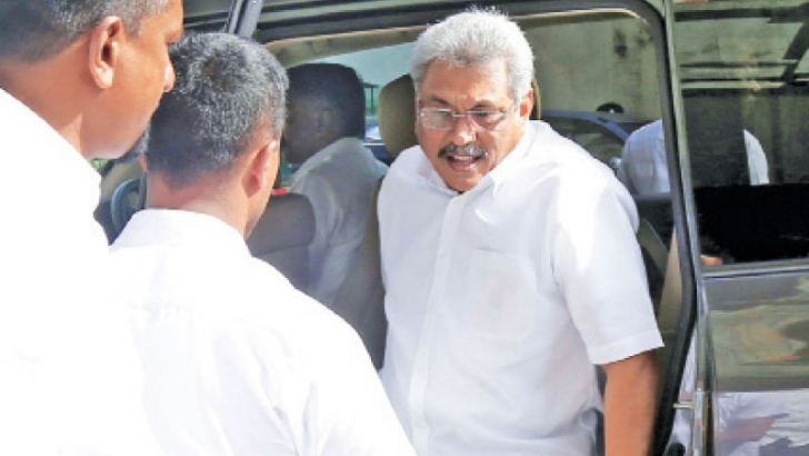 Former Defence Secretary Gotabhaya Rajapaksa arriving at the FCID on Monday. Picture by Rukmal Gamage