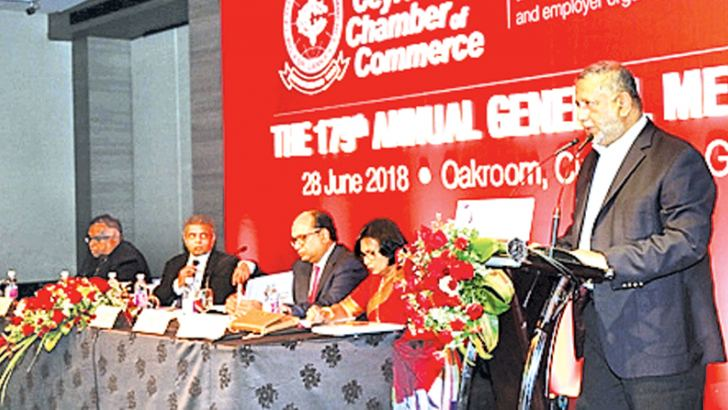 Rajendra Theagarajah, Chairman of the Ceylon Chamber of Commerce, addressing the 179th AGM.Picture by Chaminda Niroshana