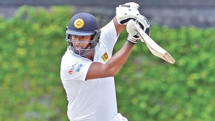 Board XI captain Angelo Mathews batting against South Africa in the two-day game at the P Sara Oval. – AFP