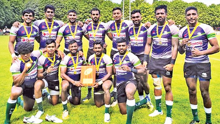 The Lanka Lions team that won the Boys rugby sevens title at the Paris World Games.