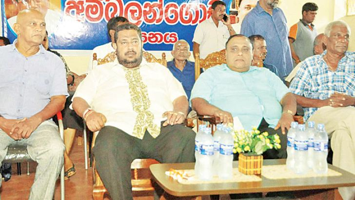 Northern Province Governor Reginald Cooray, State Minister Piyasena Gamage, Deputy Minister Nishantha Mutuhettigamage and Southern Province Chief Minister Shan Wijayalal De Silva, at the meeting. Picture by Mahinda P. Liyanage, Galle Central Special Corr.