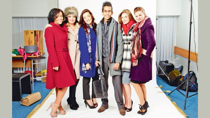 Posing with other models  for a Debenham fashion house photoshoot