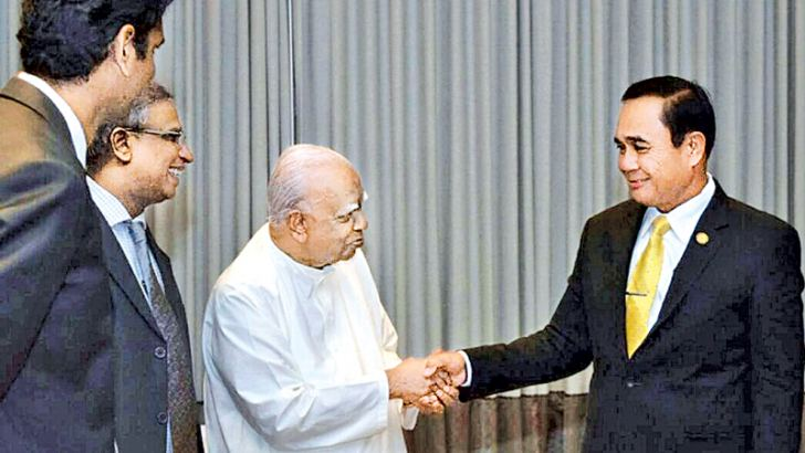 Thailand Prime Minister Gen. Prayut Chan-o-cha met Opposition Leader and Tamil National Alliance MP R. Sampanthan. TNA spokesman, Jaffna District MP M.A. Sumanthiran was present.