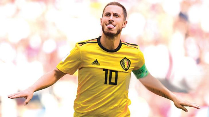 Belgium's  Eden Hazard  celebrates scoring their fourth goal