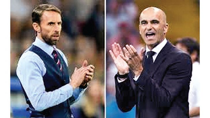 This combination of photos created on Thursday shows England's coach Gareth Southgate 8 (L) and Belgium's coach Roberto Martinez.