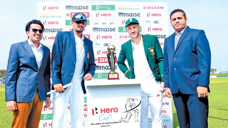 Moose Clothing Company CEO Hasib Omar (Far Left) with Sri Lanka's Captain Suranga Lakmal (Centre Left) and South Africa's Captain Faf du Plessis (Centre Right).
