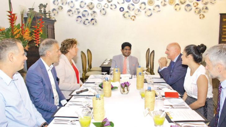 The six member delegation from the Belgium-Sri Lanka Parliamentary Friendship Group in conversation with Foreign Affairs State Minister Vasantha Senenayake.