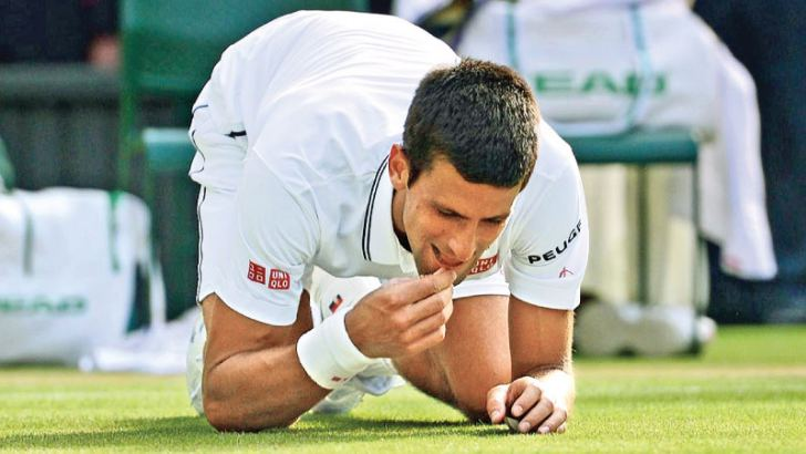 Novak Djokovic actually ate grass from the court after defeating Kevin Anderson in the men's singles final.