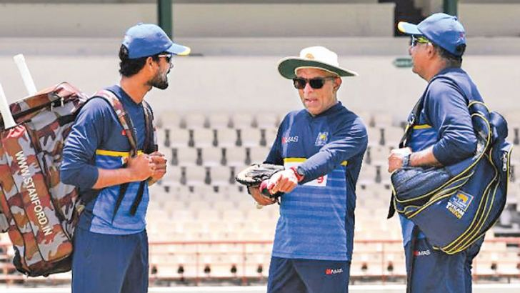 SUSPENDED TRIO: Dinesh Chandimal (left), coach Chandika Hathurusingha and manager Asanka Gurusinha – all three of them have been suspended by the ICC for breaching the spirit of cricket.