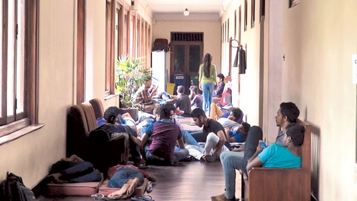 Members of the Peradeniya University Students Union engaged in the protest. Picture by Asela Kuruluwansa.