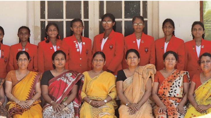 AIR RIFLE SHOOTING team: 1st Row Left to Right - *T.H.Vishvani Gunapala, Mrs. Kusala Dharmasekara (Teacher in Charge). Mrs. I.N Ranasinghe (Deputy Principal), Miss. M.H.H Sampath (Deputy Principal) Mrs. T.Sumedha Jayaweera (Principal), Mrs. Geetha Bandara (Deputy Principal), Ms. R.M.P.S.Manike (Assistant Principal), Mrs. S.C.Ranasinghe (Assistant Principal), W.A.Umedha Lakshani Weerasooriya 2nd Row Left to Right - *K.R.Thisathma, K.Nimthaki Silva, I.Kaveesha Senarathne, G.T.Aolka Silva, A.Ruweka Fernando, R