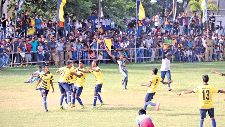 Vinuka Sameshana celebrating Rahula's first goal. Picture by Priyan de Silva