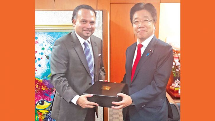 Minister of Plantation Industries, Navin Dissanayake with Katsunobu Kato, Minister of Health Labour and Welfare in Japan.