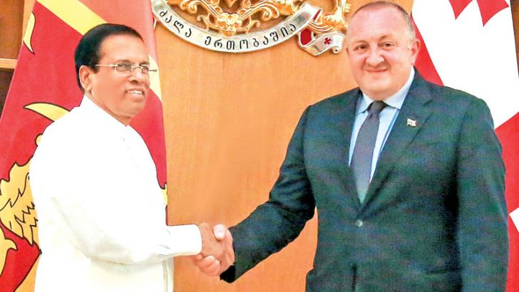 President Maithripala Sirisena who is in Georgia to participate in the  Open Government Partnership Global Summit yesterday called on Georgian President Giorgi Margvelashvili at the Georgian Presidential Palace in Tbilisi. Picture by Chandana Perera Presidential Media Unit
