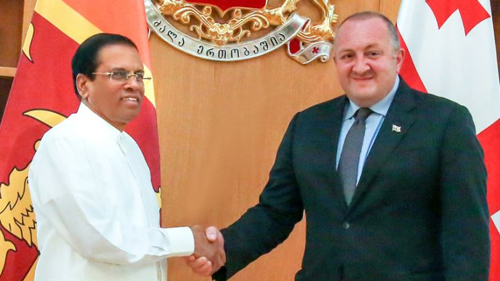 President Maithripala Sirisena who was in Georgia to participate in the Open Government Partnership Global Summit this week called on Georgian President Giorgi Margvelashvili at the Georgian Presidential Palace in Tbilisi recently. Picture by Chandana Perera, President's Media Unit