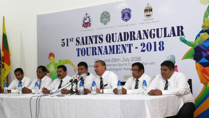 President of St. Peter's College Old Boy's Union Asela Lihinikaduwa (fifth from left) addressing the media regarding Saints Quadrangular Tournament was held at St. Peter's College recently. From left: Kushana Michael (Secretary of Saints Quadrangular Association), Preethiraj de Silva(President of Old Joes Sports Club), Ranjith Peiris (Immediate Past President,Saints Quadrangular Association), Ravika de Silva (President, Saints Quadrangular Association), Srilal de Silva (Vice President, Old Bens SportsClub),