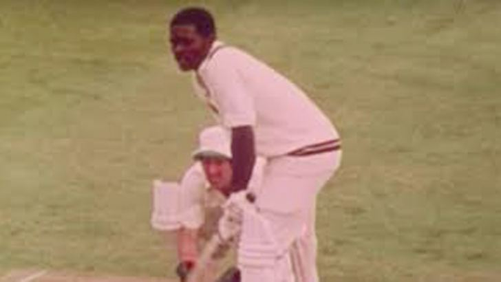 Collis King batting in the 1979 World Cup final against England at Lord's.