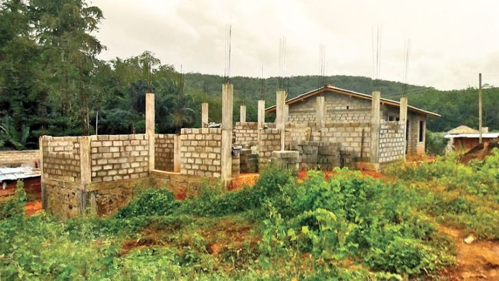 A house being constructed for storm victims. Picture by H. L. Sunil Shantha, Kalutara Central Special Corr.