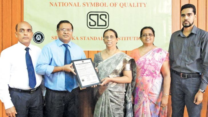Sarath Fonseka, the Senior Quality Assurance and R & D Manager, Sajith 'Gunaratne, the Deputy General Manager of Ceylon Agro Industries, Prima Group Sri Lanka, Nayana Satharasingha, the Director General,  Gunaranjani Sooriyaarachchi, the Director of Product Certification and Chamara Ranatunga, the Assistant Director of Product Certification.