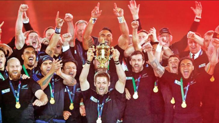 New Zealand celebrate their World Cup win at Twickenham London in 2015.