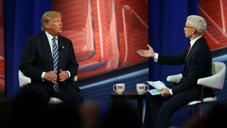 Then Republican Presidential hopeful Donald Trump, seen here at a 2016 CNN town hall show with host Anderson Cooper.